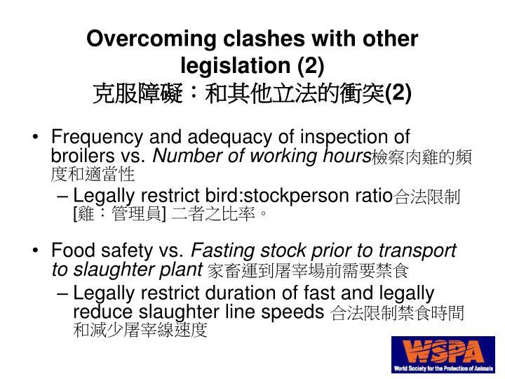 Overcoming clashes with other legislation (2)