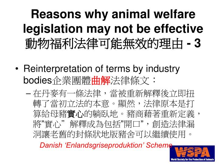 Reasons why animal welfare legislation may not be effective