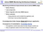 active dbms monitoring architecture analysis