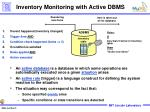 inventory monitoring with active dbms