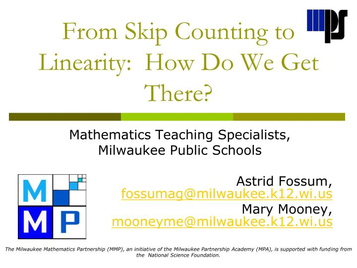 from skip counting to linearity how do we get there n.