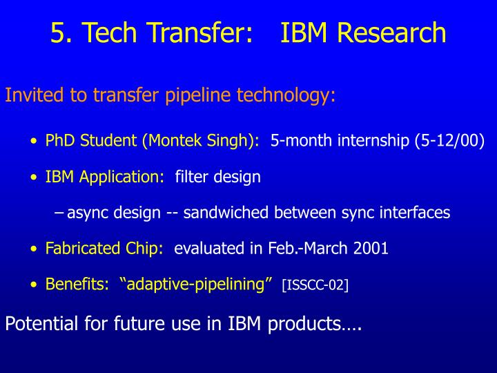 5. Tech Transfer:   IBM Research
