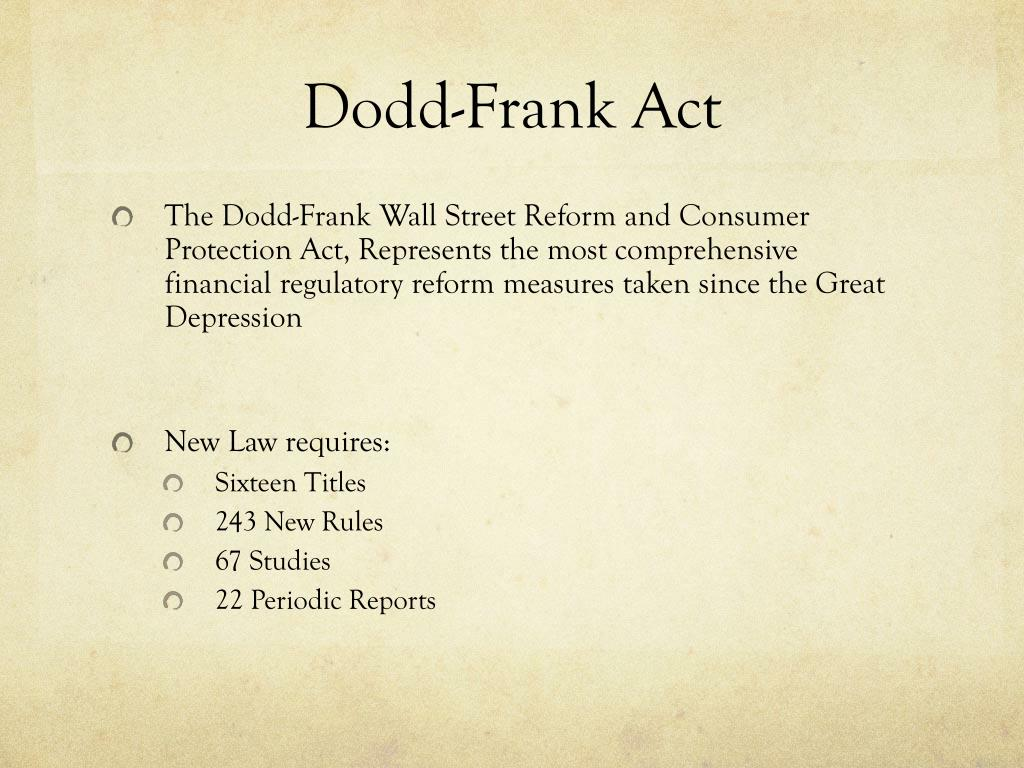 PPT - The Dodd-Frank Act The Volcker Rule PowerPoint