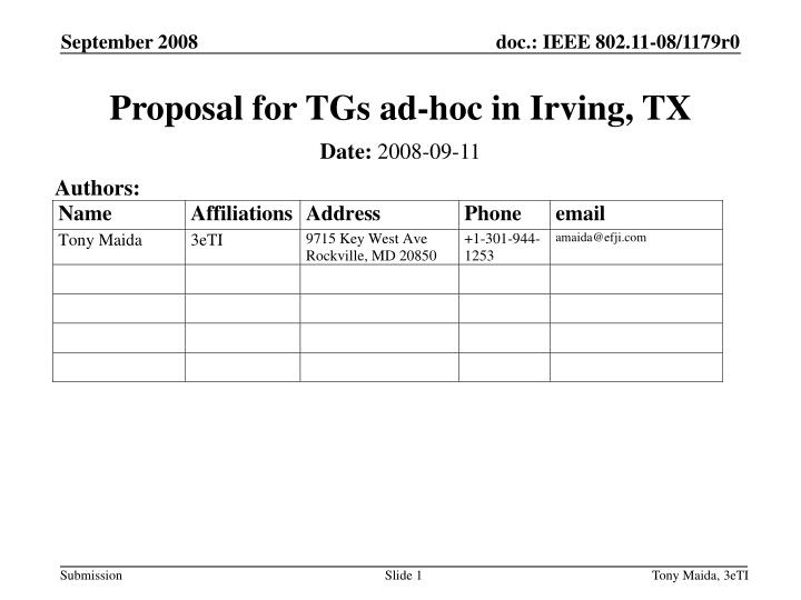 proposal for tgs ad hoc in irving tx n.
