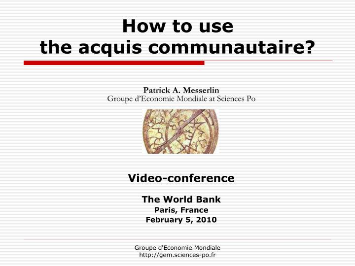 how to use the acquis communautaire n.