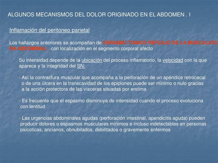 ALGUNOS MECANISMOS DEL DOLOR ORIGINADO EN EL ABDOMEN . I