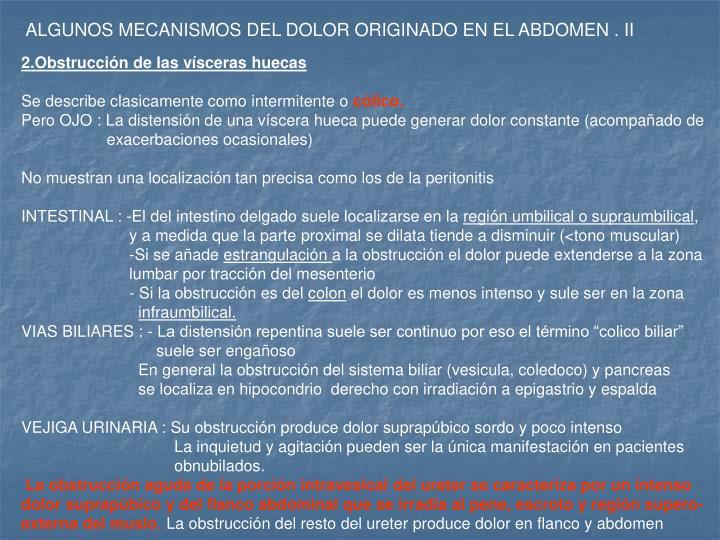 ALGUNOS MECANISMOS DEL DOLOR ORIGINADO EN EL ABDOMEN . II