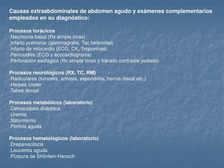 Causas extraabdominales de abdomen agudo y exámenes complementarios