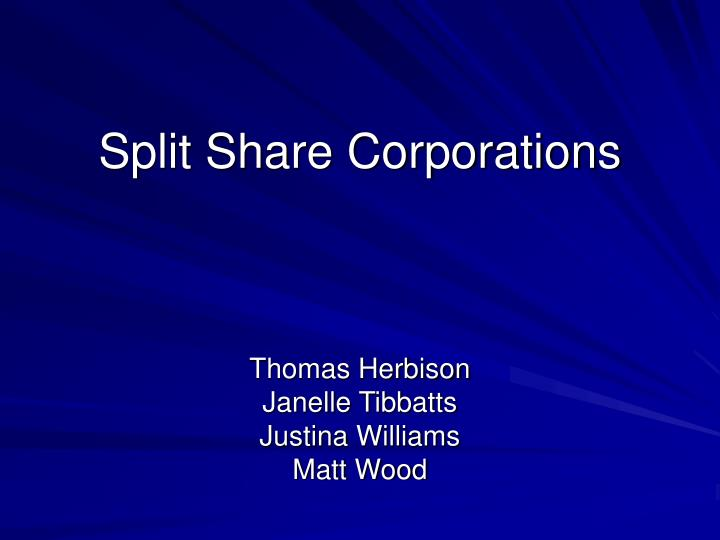 split share corporations n.