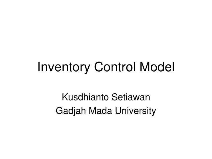 inventory control model n.