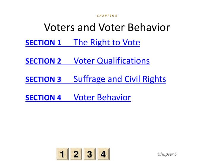 C h a p t e r 6 voters and voter behavior