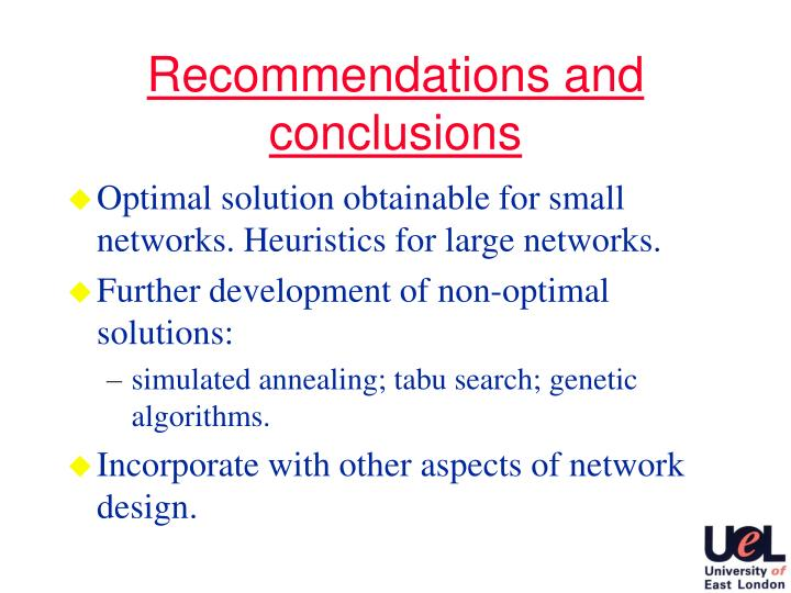 Recommendations and conclusions