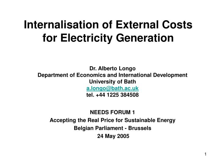 internalisation of external costs for electricity generation n.