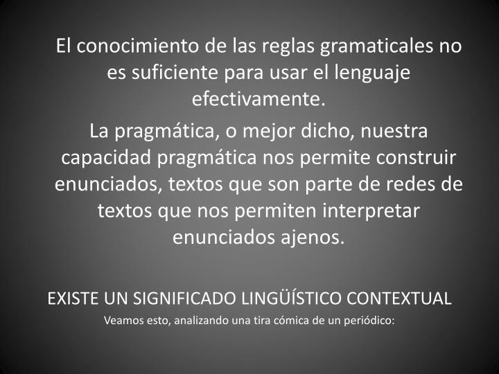 El conocimiento de las reglas gramaticales no es suficiente para usar el lenguaje efectivamente.