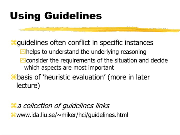 Using Guidelines