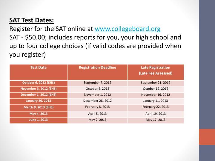 SAT Test Dates: