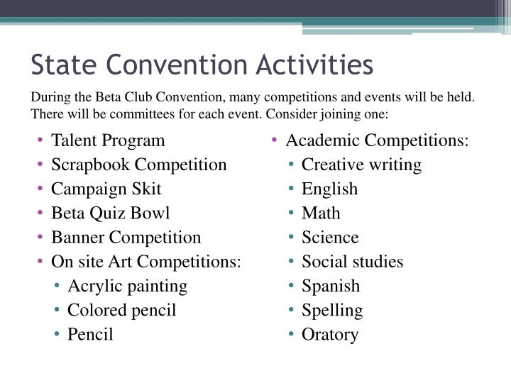 State Convention Activities