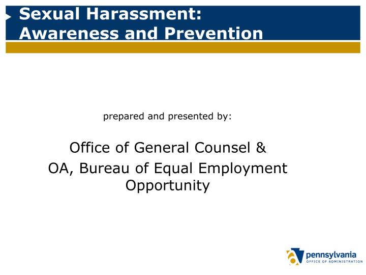 sexual harassment awareness and prevention n.