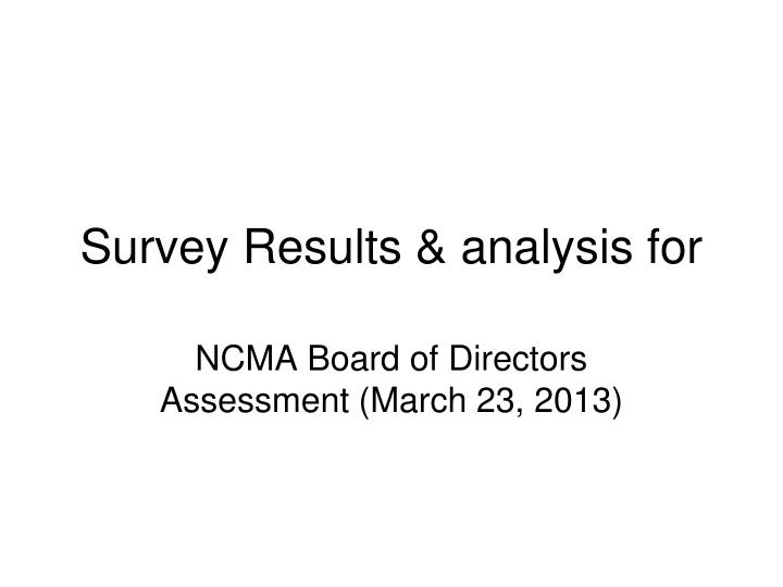 survey results analysis for n.