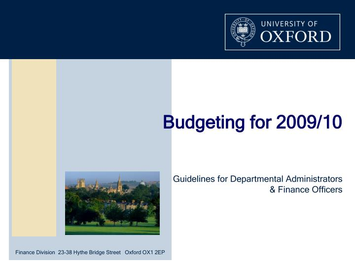 budgeting for 2009 10 n.