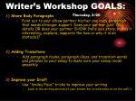 writer s workshop goals