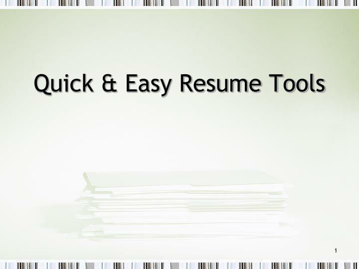 quick easy resume tools n.