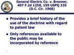 general electric co v brenner 407 f 2d 1258 159 uspq 335 d c cir 1968