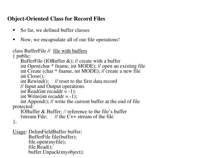 Object-Oriented Class for Record Files