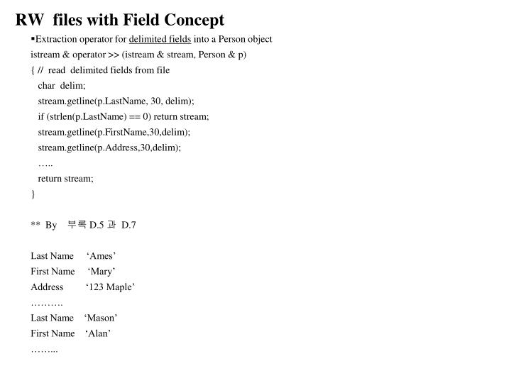 RW  files with Field Concept