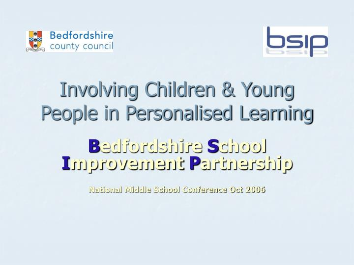 involving children young people in personalised learning n.