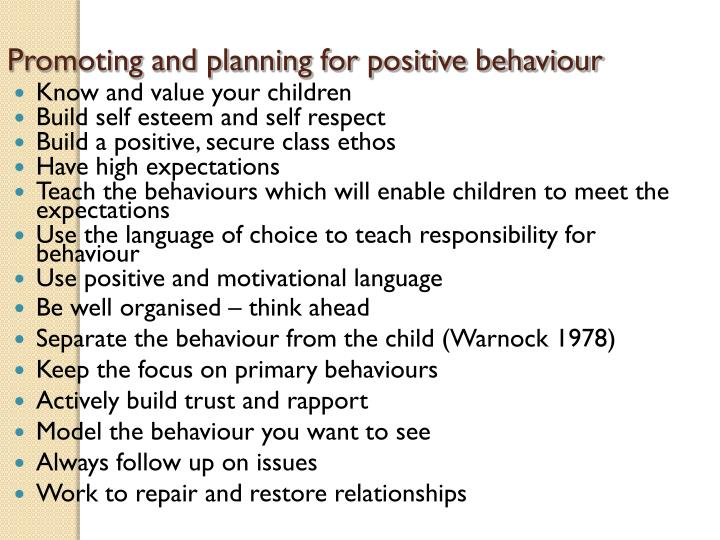 Promoting and planning for positive behaviour