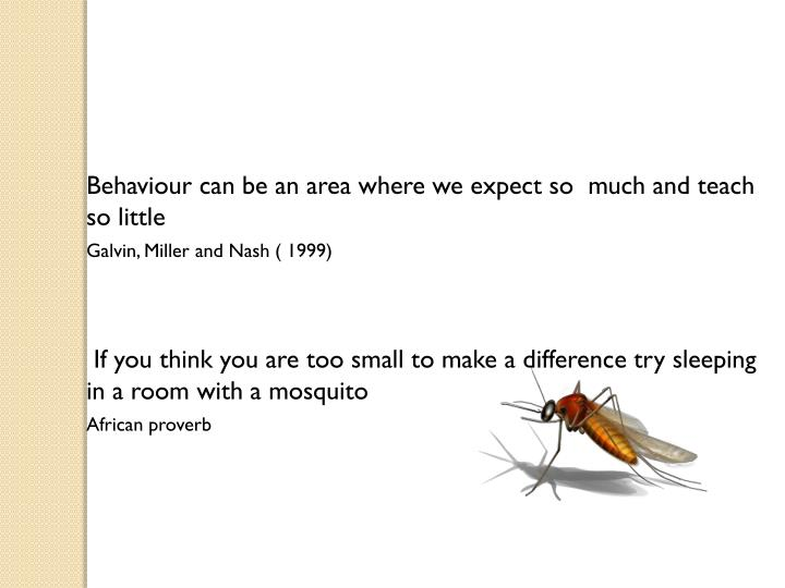 Behaviour can be an area where we expect so  much and teach so little
