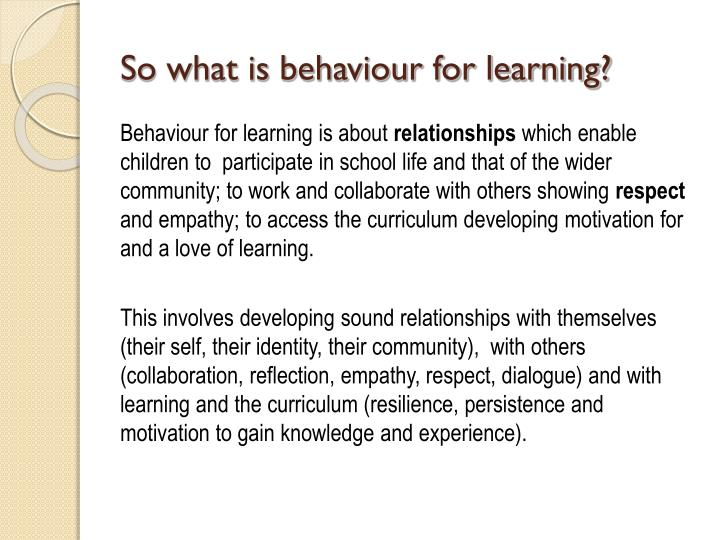 So what is behaviour for learning?