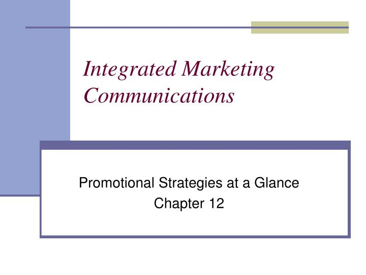 integrated marketing communications n.