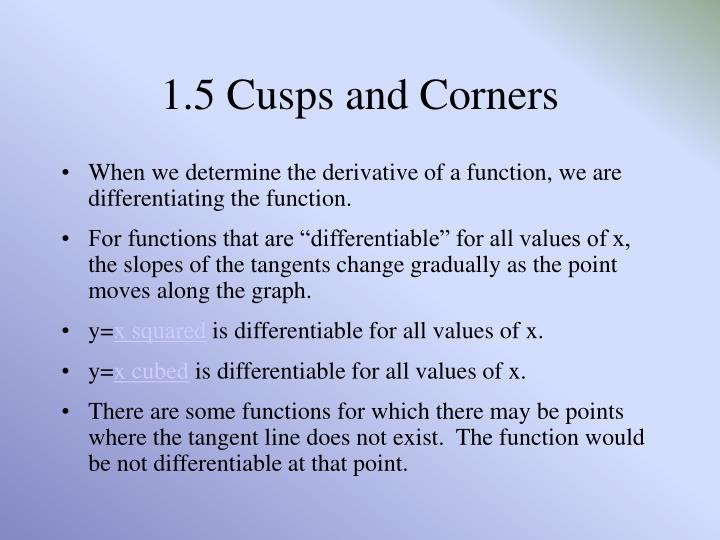 1 5 cusps and corners
