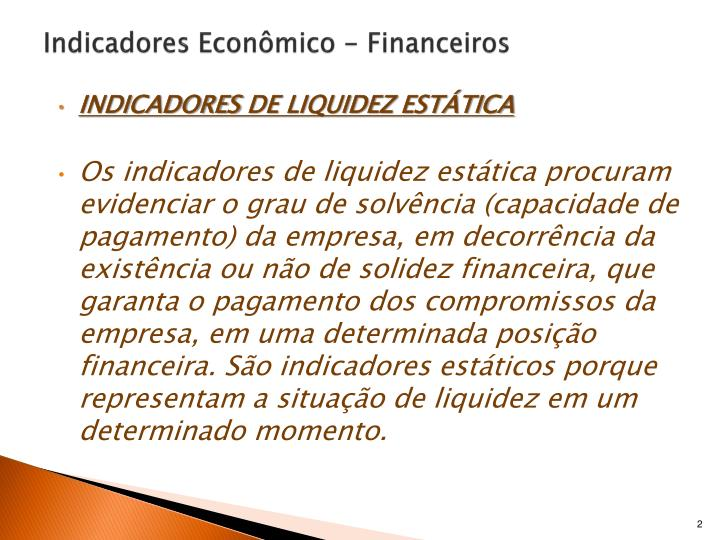 Indicadores econ mico financeiros