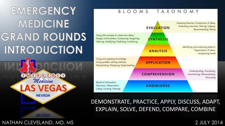 DEMONSTRATE, PRACTICE, APPLY, DISCUSS, ADAPT, EXPLAIN, SOLVE, DEFEND, COMPARE, COMBINE