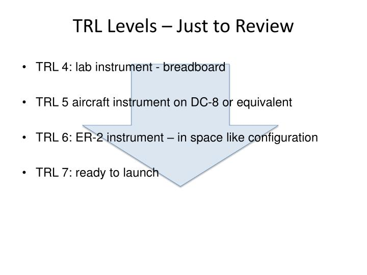 TRL Levels – Just to Review