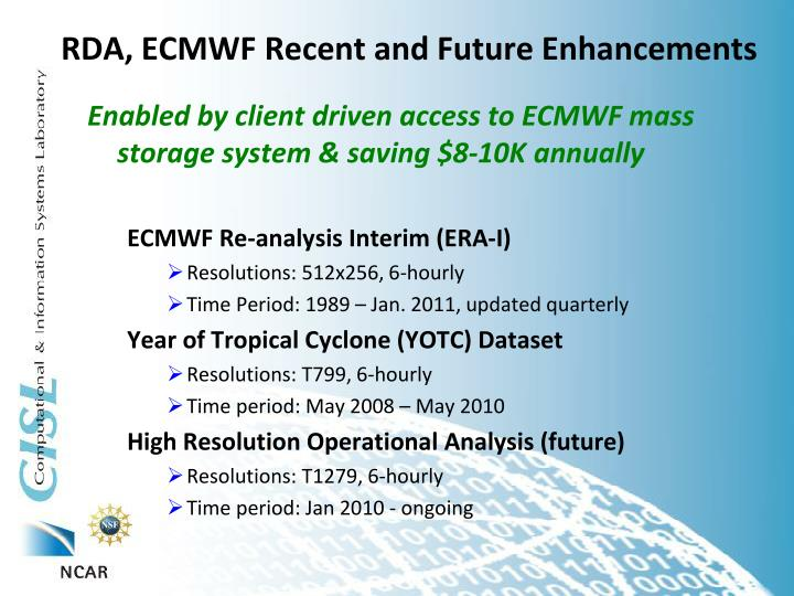 rda ecmwf recent and future enhancements n.