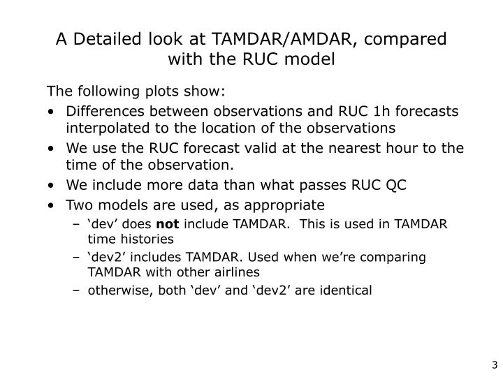 A detailed look at tamdar amdar compared with the ruc model