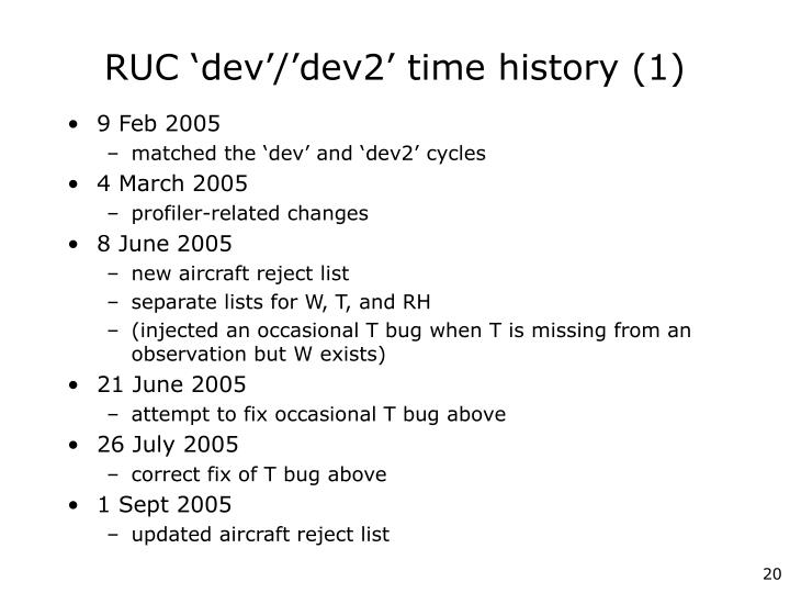 RUC 'dev'/'dev2' time history (1)