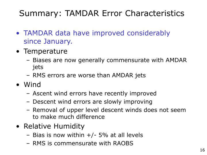 Summary: TAMDAR Error Characteristics