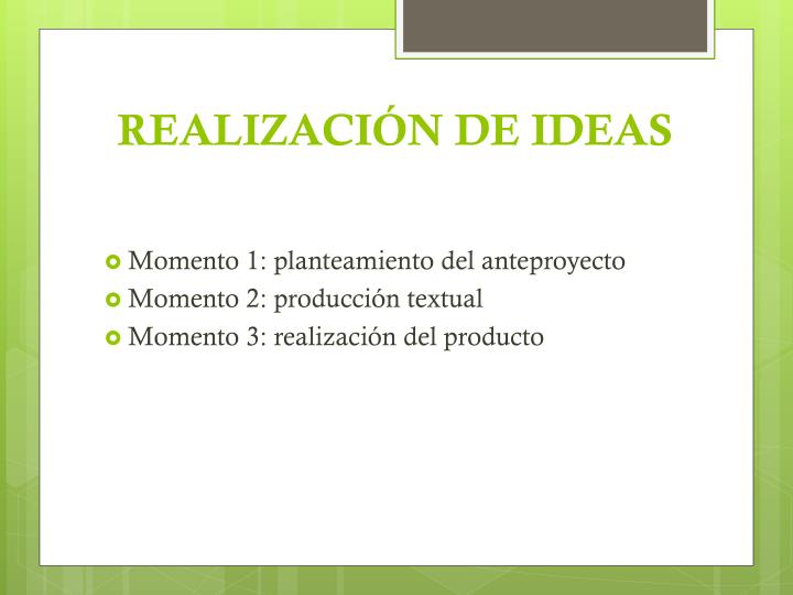 REALIZACIÓN DE IDEAS