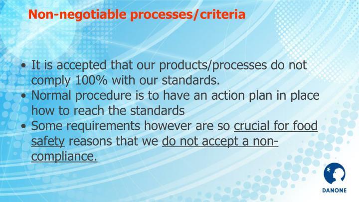 Non-negotiable processes/criteria