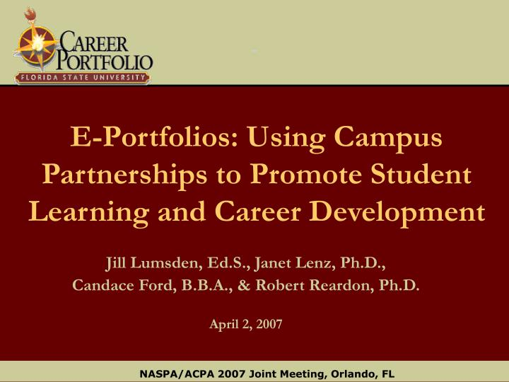 e portfolios using campus partnerships to promote student learning and career development n.