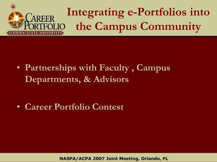 Integrating e-Portfolios into the Campus Community