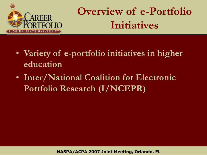 Overview of e portfolio initiatives