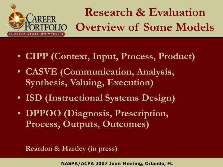 Research & Evaluation Overview of Some Models