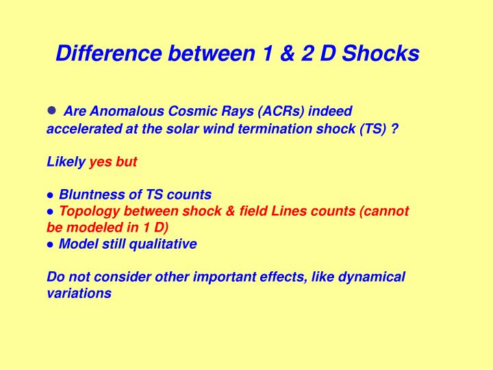 Difference between 1 & 2 D Shocks