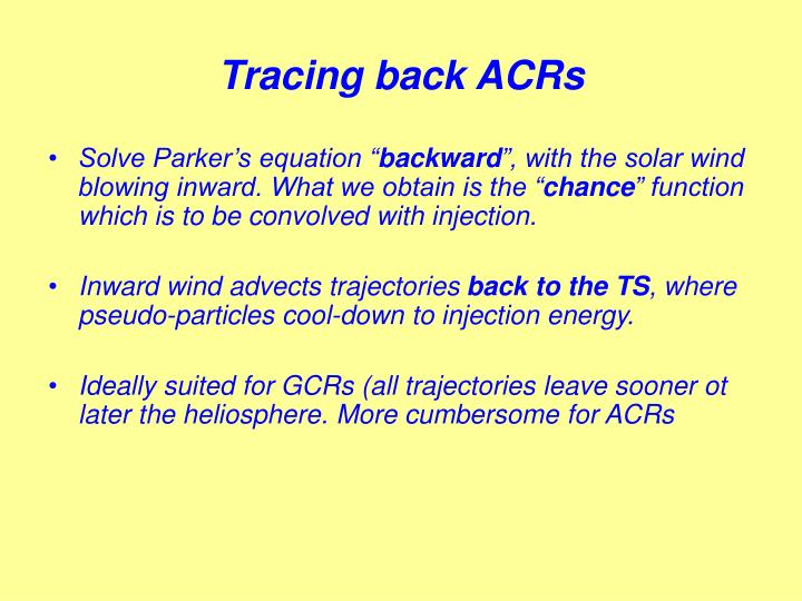 Tracing back ACRs